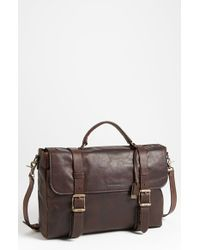Frye - Brown 'logan' Leather Flap Briefcase for Men - Lyst