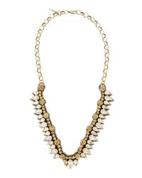 Deepa Gurnani | Metallic Golden Teardrop V Necklace | Lyst