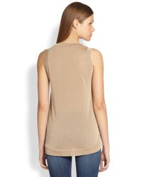 Brunello Cucinelli | Natural Metallic Threaddetail Sleeveless Top | Lyst