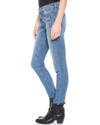 FRAME   Blue Le Skinny Crop Flat Pocket Jeans   Lyst
