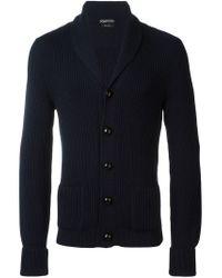 Tom Ford - Blue Ribbed V-neck Cardigan for Men - Lyst