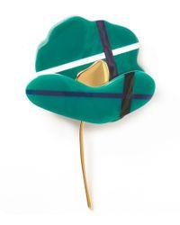 Marni - Green Tartan Poppy Brooch - Lyst