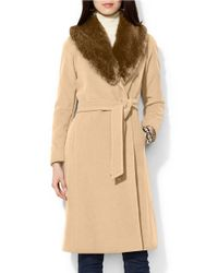 Lauren by Ralph Lauren | Natural Cashmere-wool Blend Faux Fur-collar Wrap Coat | Lyst
