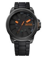 BOSS Orange - Black Textured Silicone Strap Watch for Men - Lyst