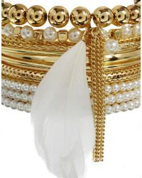 Lipsy - White Pearl  Feather Bangle Multipack - Lyst