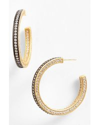 Freida Rothman | Metallic 'classics' Pave Inside Out Hoop Earrings | Lyst