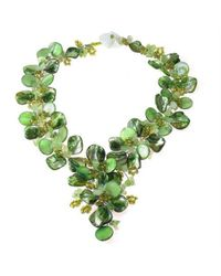 Aeravida - Serenity Green Floral Jade And Mother Of Pearl Seashells Statement Necklace - Lyst