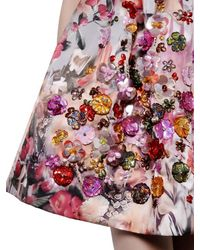 MSGM - Pink Floral Printed Techno Duchesse Dress - Lyst