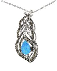 Lord & Taylor | Blue Sterling Silver And Faux Opal Feather Necklace | Lyst