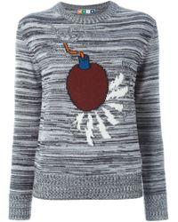 MSGM - Gray Bomb Intarsia Sweater - Lyst