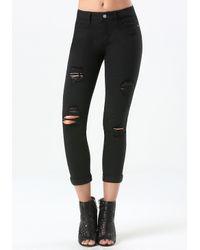 Bebe   Black Ripped Heartbreaker Jeans   Lyst