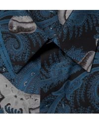 Givenchy - Blue Paisley And Moth-Print Cotton Shirt for Men - Lyst