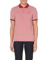 Armani Jeans - Purple Contrast-trim Cotton-pique Polo Shirt, Men's, Size: L, Nd Bordeaux for Men - Lyst