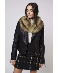 TOPSHOP | Black Tall Faux Fur Shawl Biker | Lyst