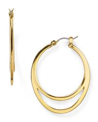 T Tahari | Metallic Double Hoop Earrings | Lyst