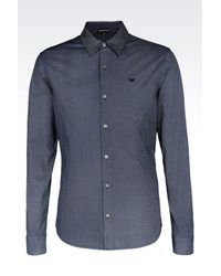 Emporio Armani - Blue Shirt In Printed Jersey for Men - Lyst