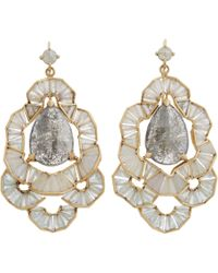 Nak Armstrong | Gray Diamond Labradorite White Sapphire Aquamarine Drop Earrings | Lyst