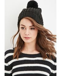 Forever 21 - Black Fold-over Pom Beanie You've Been Added To The Waitlist - Lyst