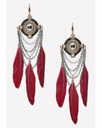 Bebe - Metallic Chain & Feather Earrings - Lyst