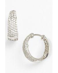 Roberto Coin - White 'scalare' Diamond Hoop Earrings - Lyst