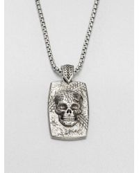 Stephen Webster | Metallic Sterling Silver Skull Dog Tag Necklace | Lyst