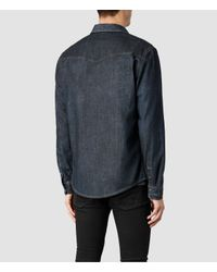 AllSaints - Blue Choko Western Shirt for Men - Lyst