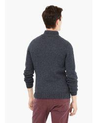 Mango - Gray Textured Wool-blend Cardigan for Men - Lyst