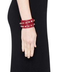 Valentino | Red 'rockstud' Double Wrap Leather Bracelet | Lyst