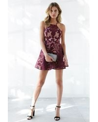 Keepsake - Purple Romantic Rebel Burnout Lace Skater Dress - Lyst