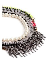 Venna - Multicolor Crystal Fringe Pearl Spikes Necklace - Lyst