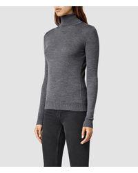 AllSaints - Gray Albar Roll Neck Sweater Usa Usa - Lyst