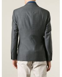 Brunello Cucinelli - Gray Double Breasted Blazer for Men - Lyst