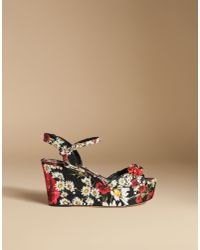 ad62525f72979 Dolce   Gabbana. Women s Black Wedge Sandal In Printed Brocade With Crystals