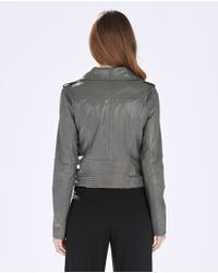 Parker | Gray Belfast Leather Moto Jacket | Lyst