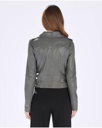 Parker - Gray Belfast Leather Moto Jacket - Lyst