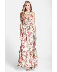 Adrianna Papell | Pink Floral Print Chiffon Maxi Dress | Lyst