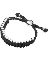 Links of London - Sterling Silver And Black Rope Friendship Bracelet - Lyst