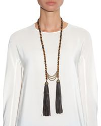 Zeus + Dione | Brown Tiger-Eye Stone And Leather-Tassel Necklace | Lyst