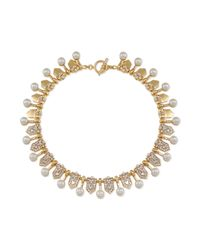Carolee - White 12k Goldplated Glass Pearl and Crystal Collar Necklace - Lyst