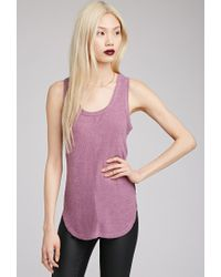 Forever 21 | Purple Ribbed Side-slit Tank | Lyst