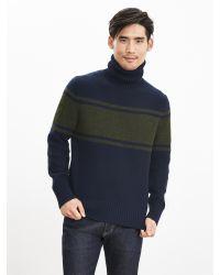 Banana Republic   Blue Chest-stripe Turtleneck Sweater Pullover for Men   Lyst