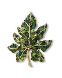 Kenneth Jay Lane | Multicolor Multi Green Leaf Brooch | Lyst