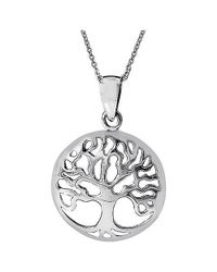 Aeravida | Metallic Classic Tree Of Life Symbol .925 Sterling Silver Necklace | Lyst