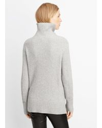 VINCE | Gray Wool Cashmere Directional Rib Turtleneck Sweater | Lyst
