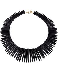 Kenneth Jay Lane - Graduated Spike Collar Necklace Black - Lyst