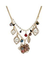 Betsey Johnson | Metallic Charm and Multicrystal Frontal Necklace | Lyst