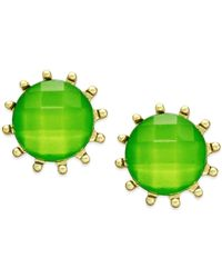 Style & Co. - Style&co. Gold-tone Green Stone Prong Stud Earrings - Lyst