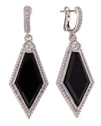 Judith Ripka | Black Modern Deco Pentagonal Onyx Earrings | Lyst