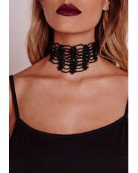 Missguided - Choker Drop Back Necklace Black - Lyst