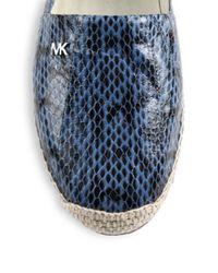 MICHAEL Michael Kors - Blue Snake-embossed Leather Espadrilles - Lyst